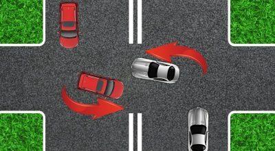 Левый поворот на перекрестке с разделительной полосой