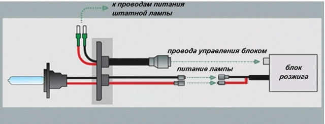 Схема подключения ксенона в птф